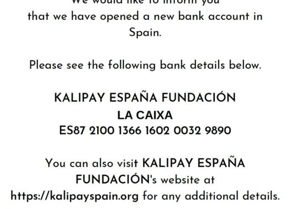 Kalipay's New Spanish Bank Account